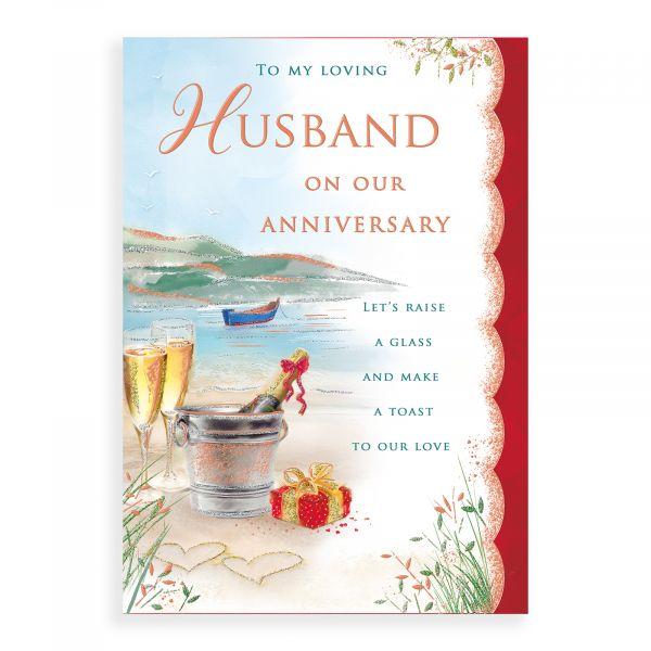 Anniversary Card Husband, Champagne