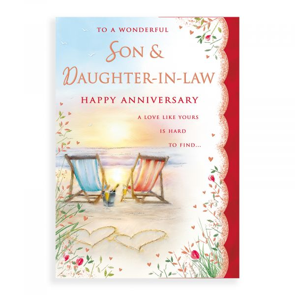 Anniversary Card Son & Daughter In Law, Deckchairs