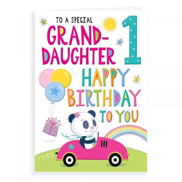 Birthday Card Age 1 Granddaughter, Panda In Car