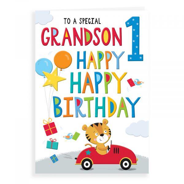 Birthday Card Age 1 Grandson, Tiger In Car
