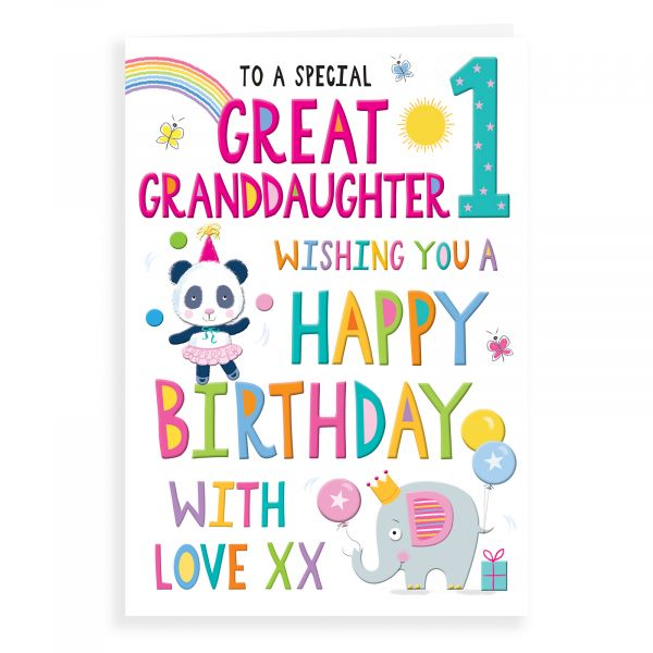 Birthday Card Age 1 Great Granddaughter
