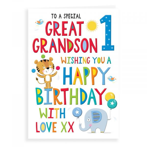 Birthday Card Age 1 Great Grandson
