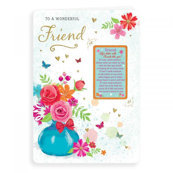 Birthday Card Friend, Vase Of Flowers