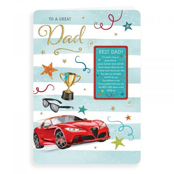 Birthday Card Dad, Car & Trophy