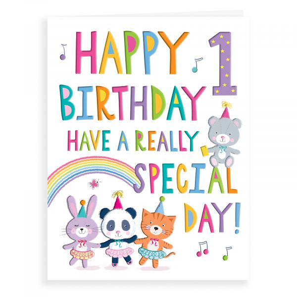 Birthday Card Age 1 F, Dancing