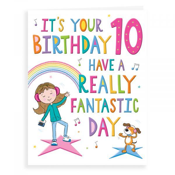 Birthday Card Age 10 F, Girl Music