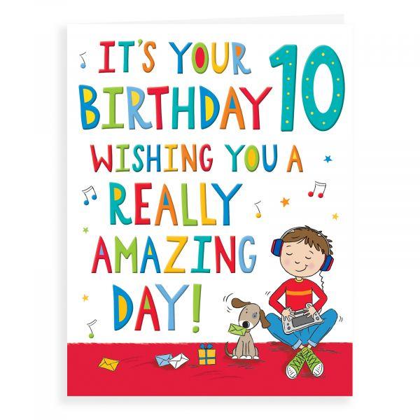Birthday Card Age 10 M, Boy Music