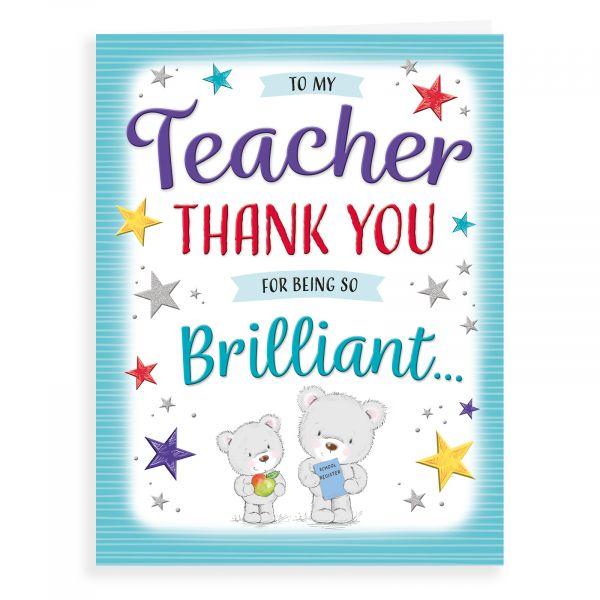 Thank You Card Teacher, Bear Giving Apple