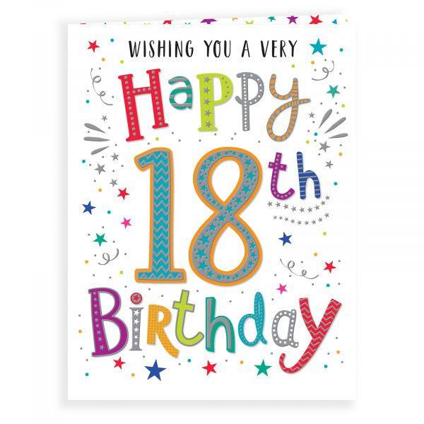 Birthday Card Age 18, Colourful Text