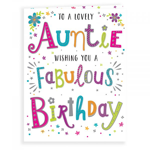 Birthday Card Auntie, Colourful Text