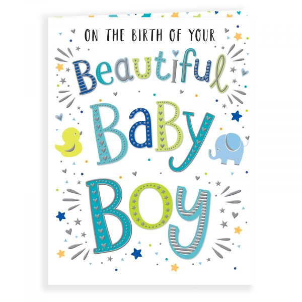 Baby Card Baby Boy, Colourful Text
