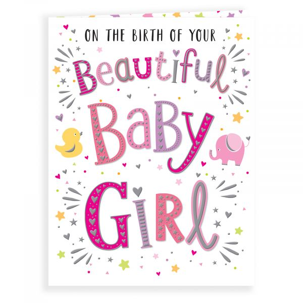 Baby Card Baby Girl, Colourful Text