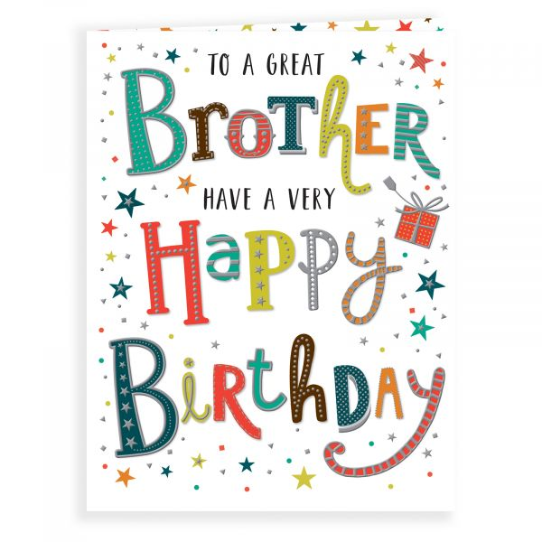 Birthday Card Brother, Colourful Text