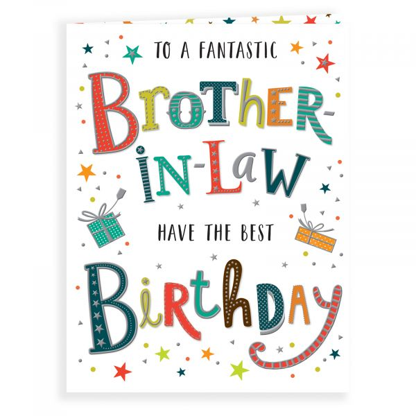 Birthday Card Brother in law, Colourful Text