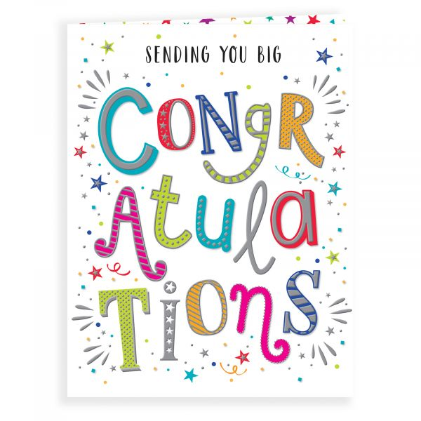 Congratulations Card, Colourful Text
