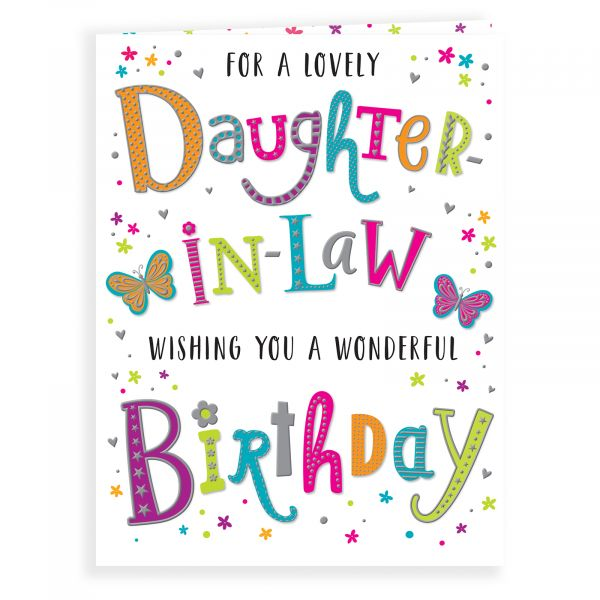 Birthday Card Daughter In Law, Colourful Text