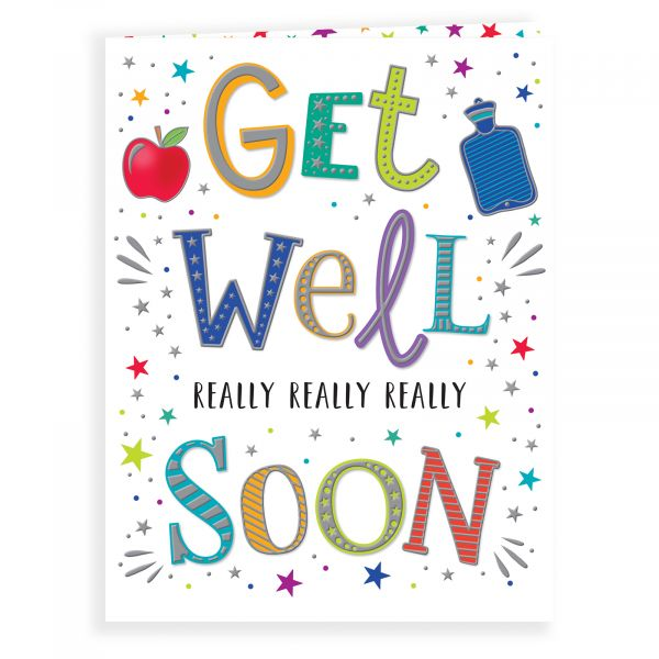 Get Well Card, Colourful Text