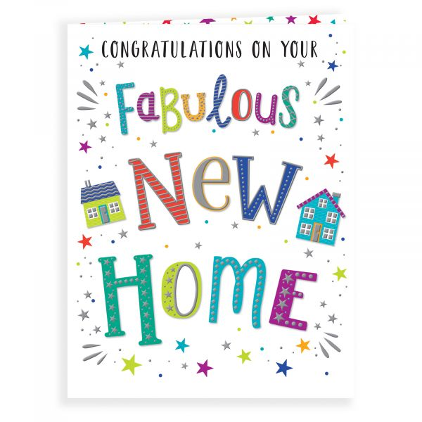 New Home Card, Colourful Text