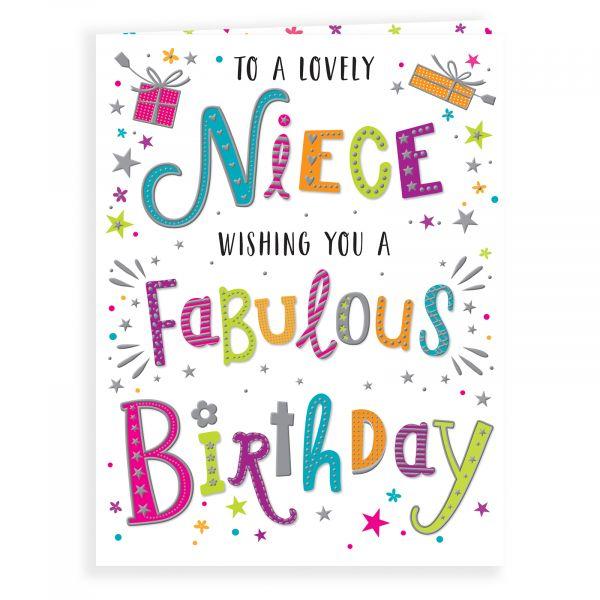 Birthday Card Niece, Colourful Text