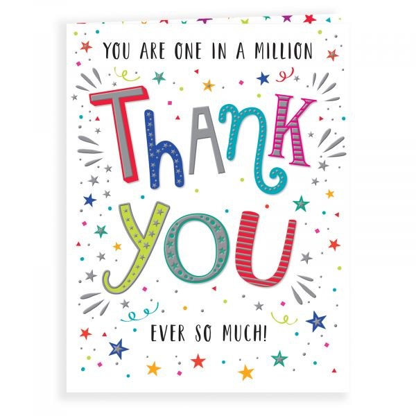 Thank You Card, Colourful Text
