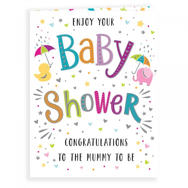 Baby Card Baby Shower, Colourful Text