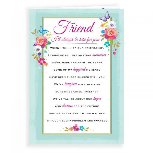 Birthday Card Friend, Floral Heatfelt Wishes