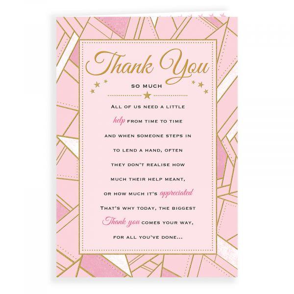 Thank You Card, Geometric Pink