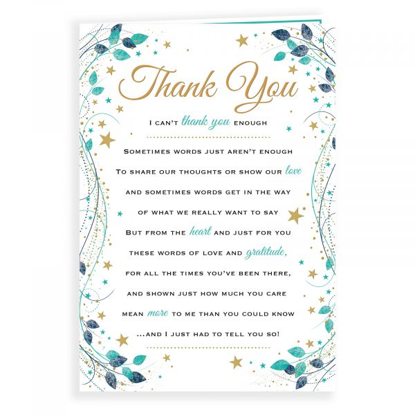 Thank You Card, Stars And Leaves