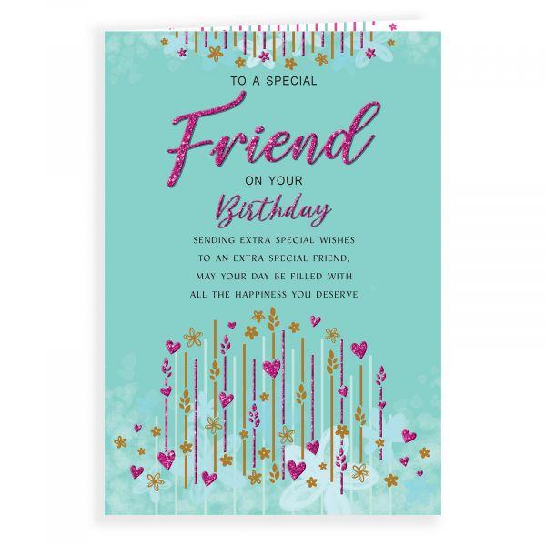 Birthday Card Friend, Lines & Hearts
