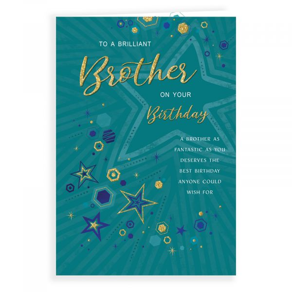 Birthday Card Brother, Stars And Hexagons