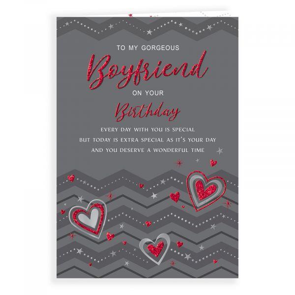 Birthday Card Boyfriend, Hearts & Zigzags