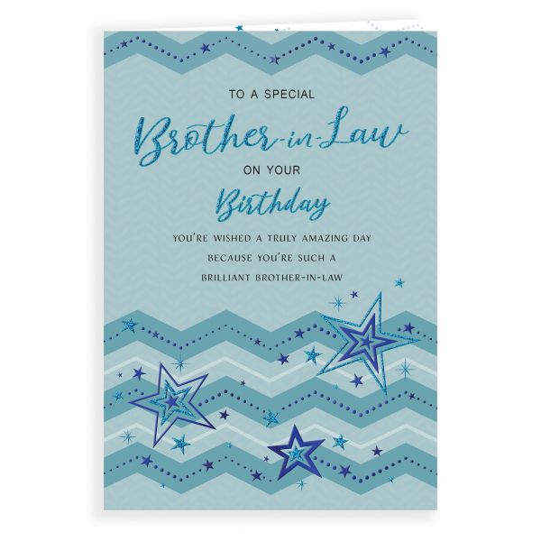 Birthday Card Brother In Law, Stars & Zigzags