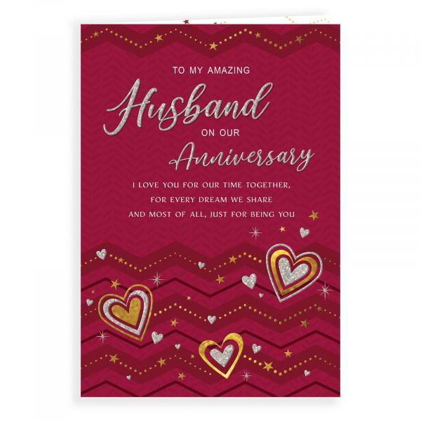 Anniversary Card Husband, Zigzag & Hearts