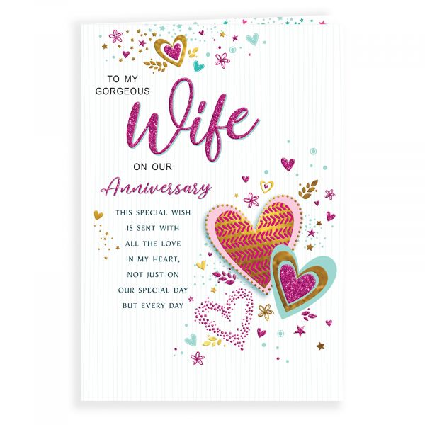 Anniversary Card Wife, Pattern Hearts