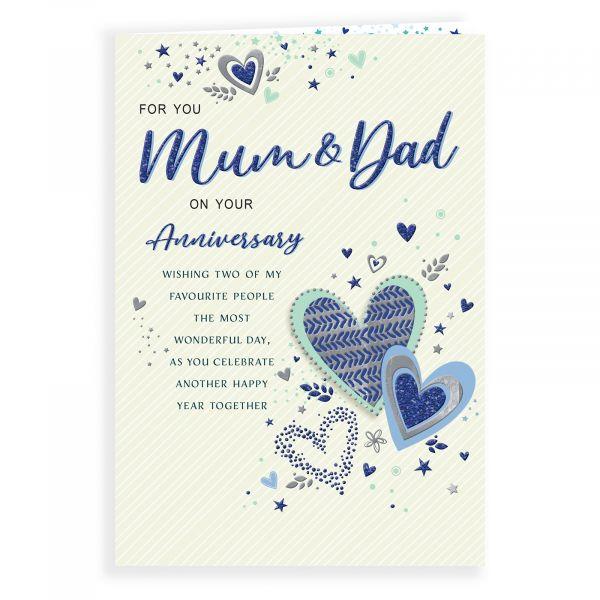 Anniversary Card Mum & Dad, Pattern Hearts