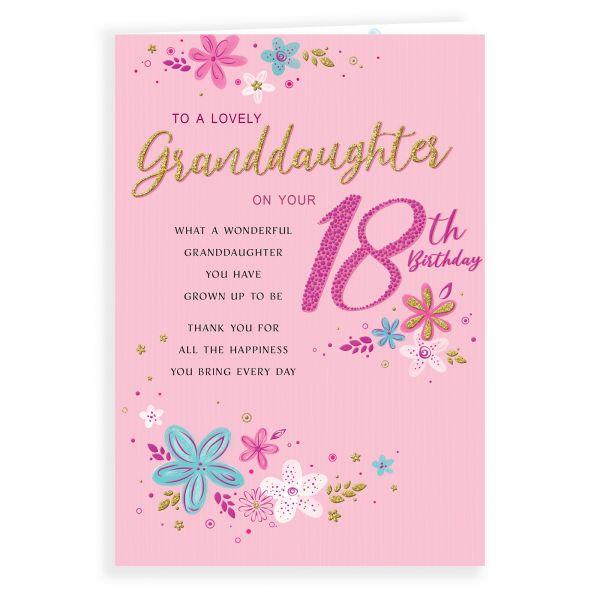 Birthday Card Age 18 Granddaughter, Flowers