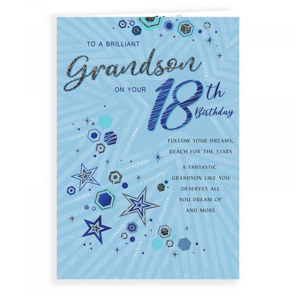 Birthday Card Age 18 Grandson, Stars & Hexagons