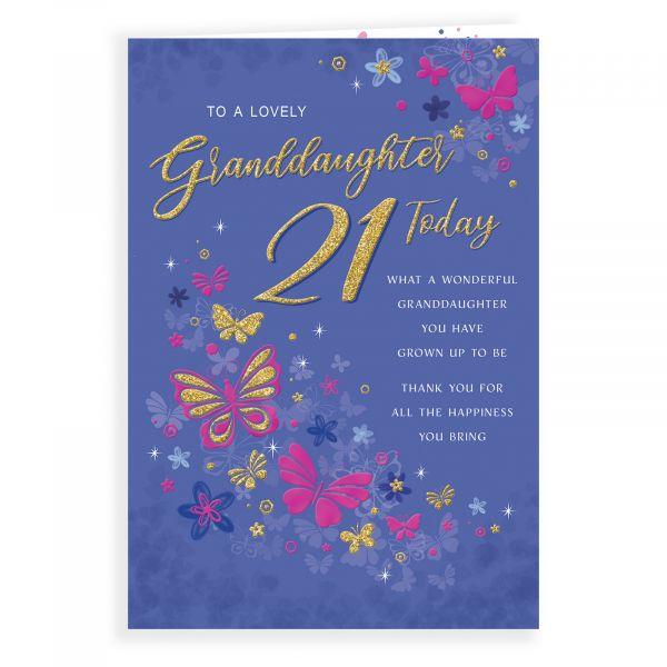 Birthday Card Age 21 Granddaughter, Butterflies