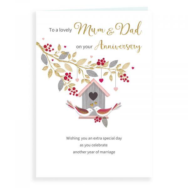 Anniversary Card Mum & Dad, Bird House