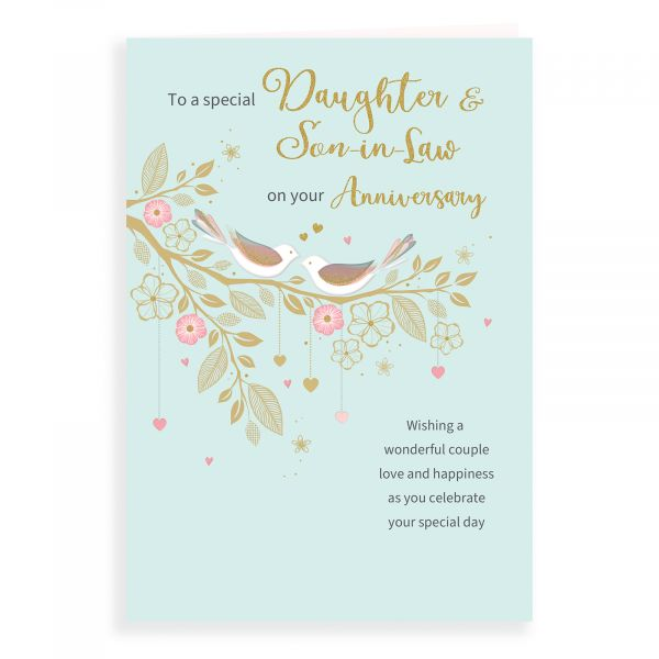 Anniversary Card Daughter & Son In Law, Birds On Branch