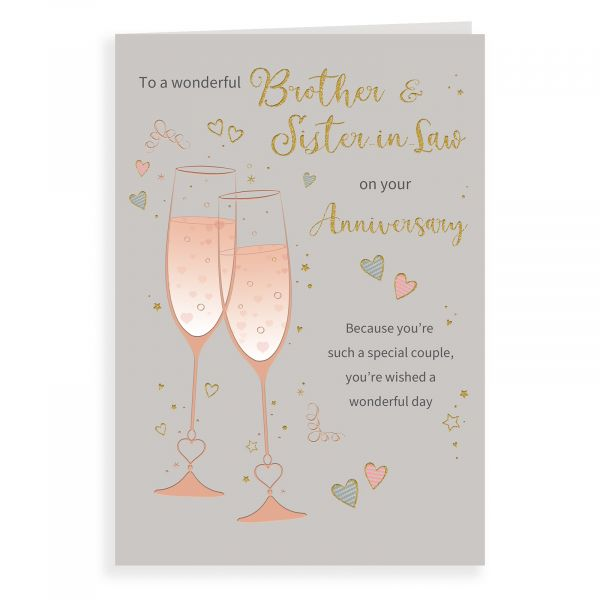 Anniversary Card Brother & Sister In Law, Champagne Flutes
