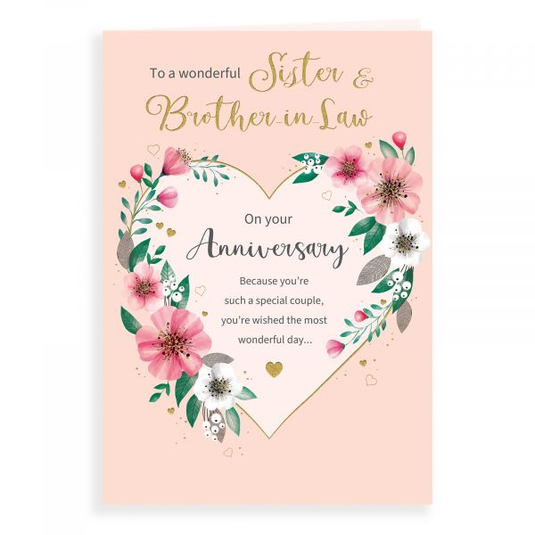 Anniversary Card Sister & Brother In Law, Floral Heart