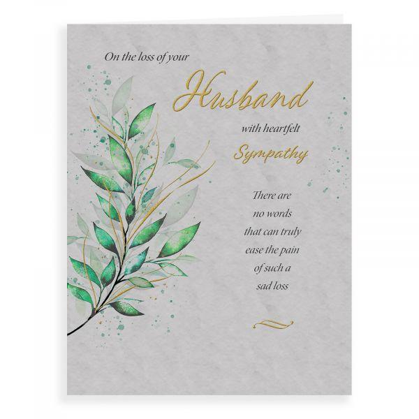 Sympathy Card Husband, Green Foliage