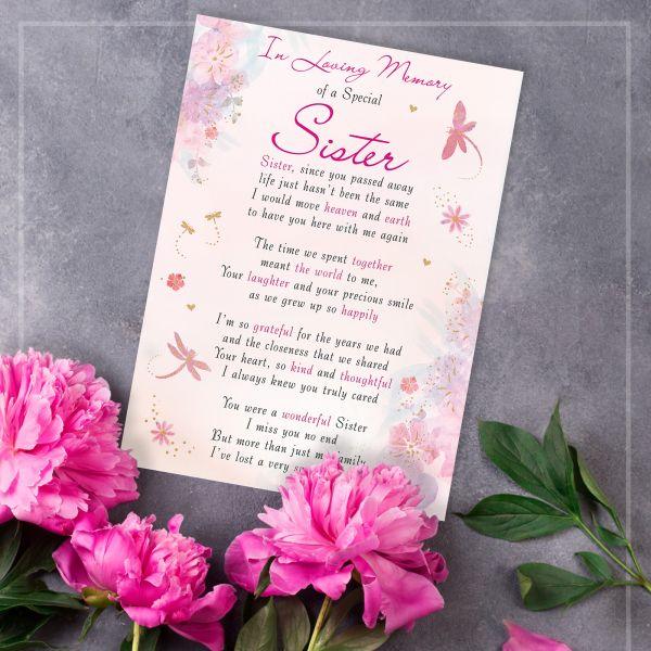 Memorial Graveside Card Sister