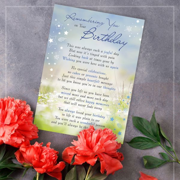 Memorial Graveside Card Remembering You on Your Birthday