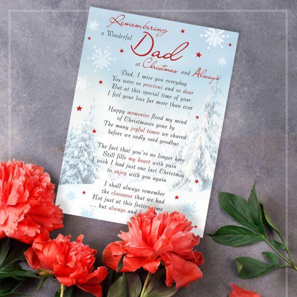 Christmas Memorial Graveside Card Dad