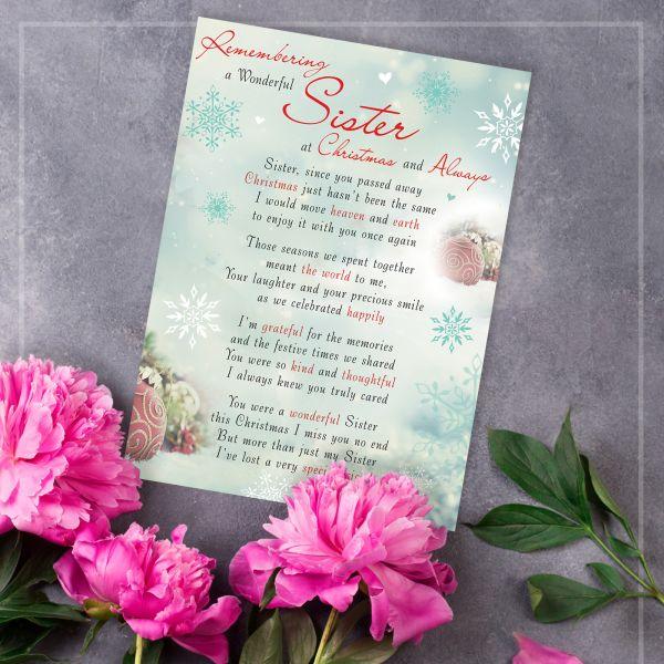 Christmas Memorial Graveside Card Sister