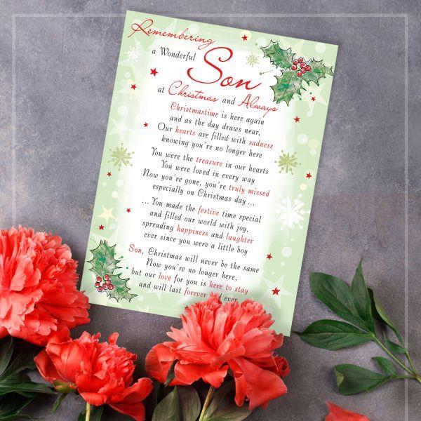 Christmas Memorial Graveside Card Son