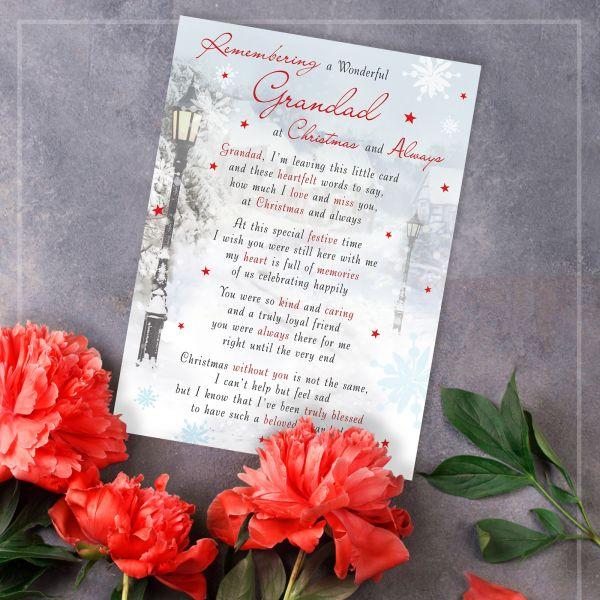 Christmas Memorial Graveside Card Grandad