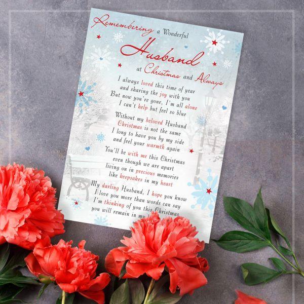 Christmas Memorial Graveside Card Husband